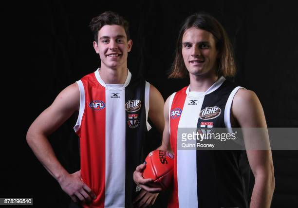 Nicholas Coffield and Hunter Clark of the Saints pose during the 2017 AFL Draft at Sydney Showgrounds on November 24 2017 in Sydney Australia