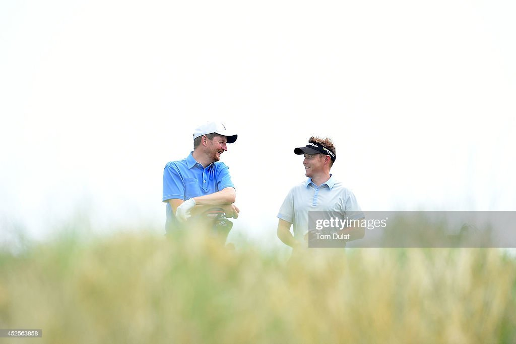 Nicholas Cook (L) and Lee Collings (R) of Lostwithiel Golf & Country Club chat during the Lombard Trophy West Regional Qualifier at Burnham and Berrow Golf Club on July 23, 2014 in Burnham-on-Sea, England.