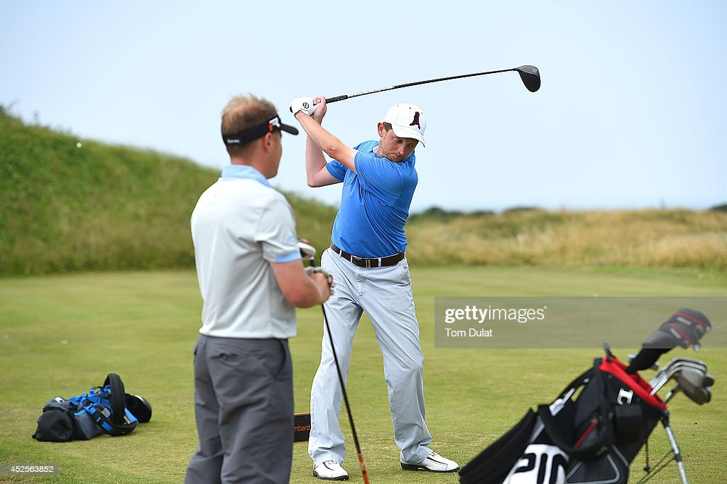 Nicholas Cook of Lostwithiel Golf & Country Club tees off from the 2nd hole during the Lombard Trophy West Regional Qualifier at Burnham and Berrow Golf Club on July 23, 2014 in Burnham-on-Sea, England.