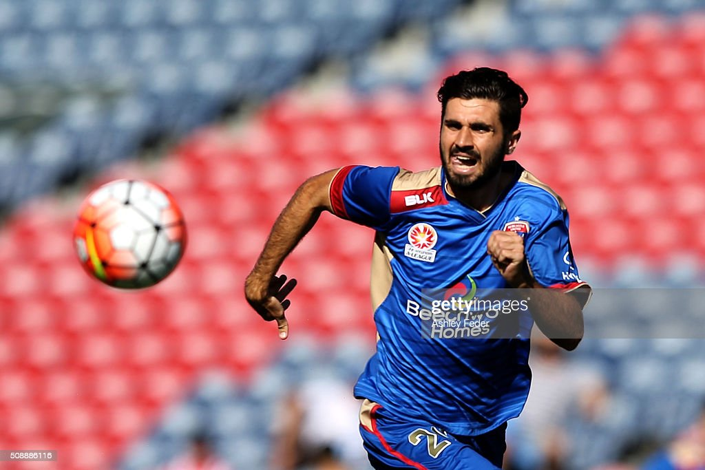 Nicholas Cowburn of the Jets chases the ball during the round 18 A-League match between the Newcastle Jets and Melbourne City FC at Hunter Stadium on February 7, 2016 in Newcastle, Australia.