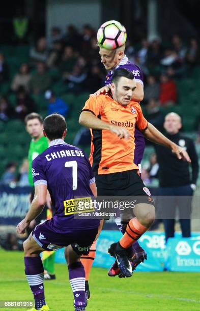 Nicholas D'Agostino of the Roar and Joseph Mills of the Glory during the round 26 ALeague match between the Perth Glory and Brisbane Roar at nib...