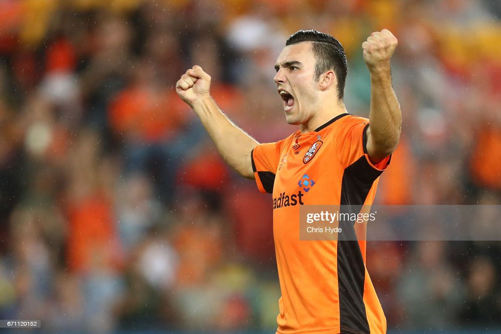 Nicholas D'Agostino of the Roar celebrates after scoring in the penalty shootout during the A-League Elimination Final match between the Brisbane Roar and the Western Sydney Wanderers at Suncorp Stadium on April 21, 2017 in Brisbane, Australia.