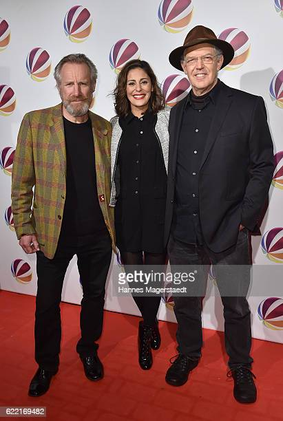 Nicholas Farrell Funda Vanroy and Peter Gilbert Cotton during the 'Jack the Ripper Eine Frau jagt einen Moerder' Premiere at Gloria Palast on...