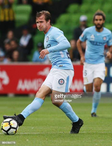 Nicholas Fitzgerald of the City controls the ball during the round three ALeague match between Melbourne City and the Wellington Phoenix at AAMI Park...