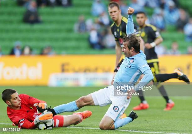 Nicholas Fitzgerald of the City has his goal attempt stopped by Goalkeeper Keegan Smith of Wellington Phoenix during the round three ALeague match...