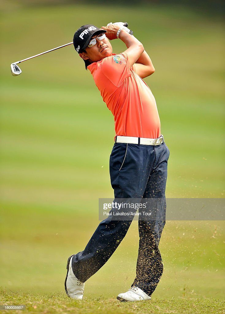 Nicholas Fung of Malaysia plays a shot during round three of the Asian Tour Qualifying School Final Stage at Springfield Royal Country Club on January 25, 2013 in Hua Hin, Thailand.