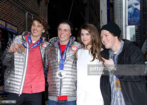 Nicholas Goepper Joss Christensen Keri Russell and Gus Kenworthy leave the 'Late Show with David Letterman' at Ed Sullivan Theater on February 20...