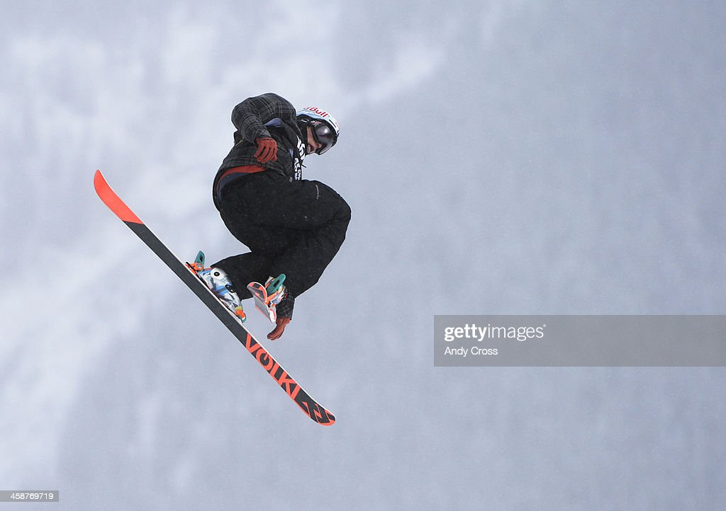Nicholas Goepper, USA, launches of the third jump during his first run of the U.S. Grand Prix slope style finals at the Copper Mountain ski area Saturday afternoon, December 21, 2013. Goepper took second in the competition.