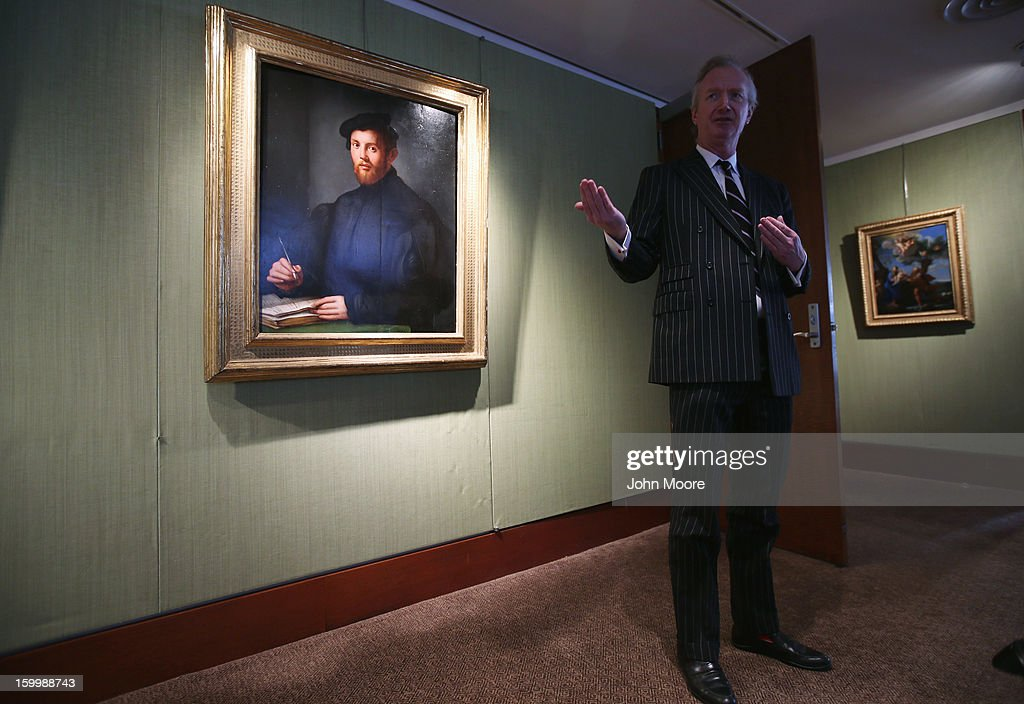Nicholas Hall Christie's aution house describes 'Portrait of a Young Man with a Book' by Agnolo Bronzino on January 24, 2013 in New York City. The piece, considered one of the most important Italian Renaissance portraits remaining in private hands, is expected to sell for $12-18 million. The auction house previewed pieces from its upcoming Old Masters Week, to be held Jan. 26-31 in New York City, with the auction beginning January 29.