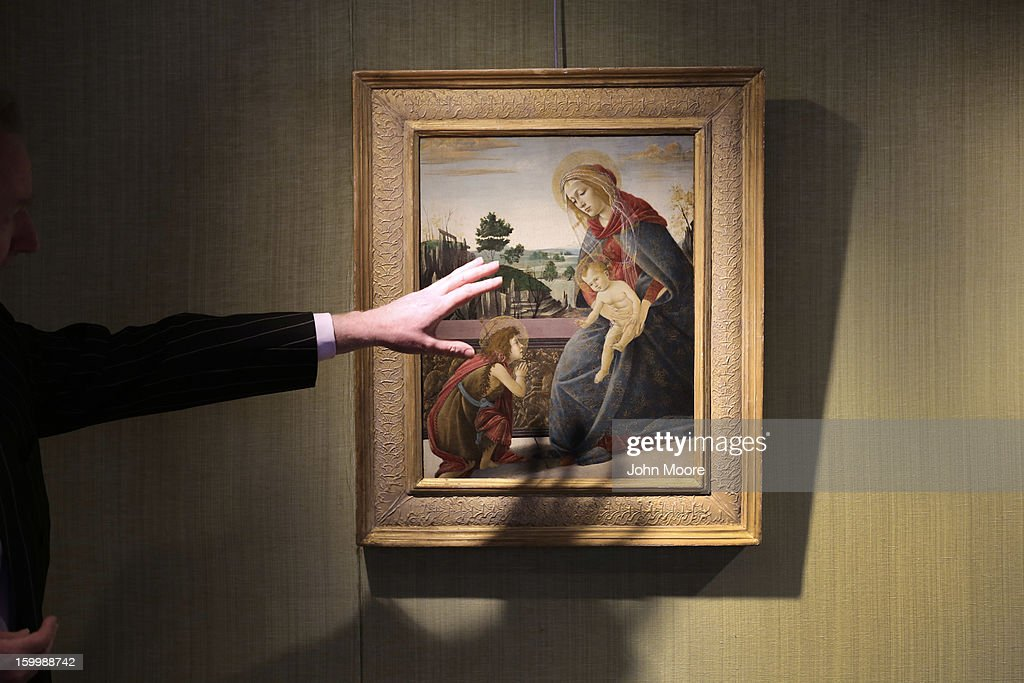 Nicholas Hall of Christie's auction house describes Renaissance painting 'The Rockefeller Madonna' by Sandro Botticelli on January 24, 2013 in New York City. The painting is expected to sell for $5-7 million. The auction house previewed pieces from its upcoming Old Masters Week, to be held Jan. 26-31 in New York City, with the auction beginning January 29.
