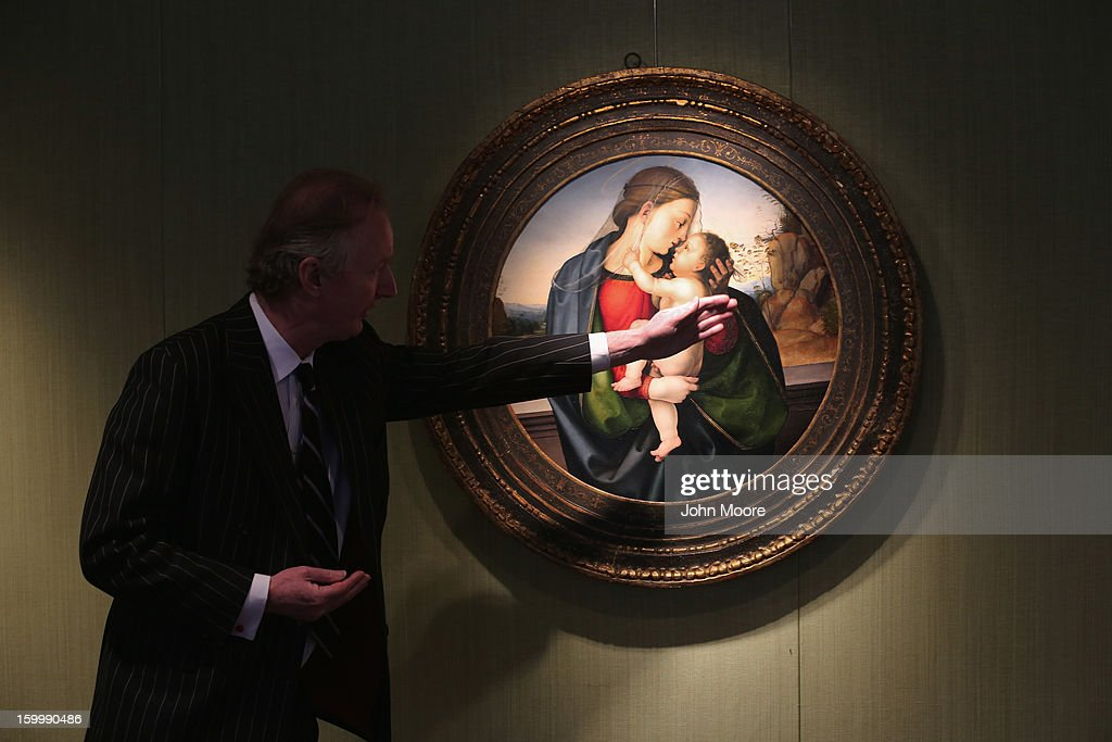 Nicholas Hall of Christie's aution house describes 'The Madonna and Child' by Fra Bartolommeo on January 24, 2013 in New York City. The piece is expected to sell for $10-15 million. The auction house previewed pieces from its upcoming Old Masters Week, to be held Jan. 26-31 in New York City, with the auction beginning January 29.