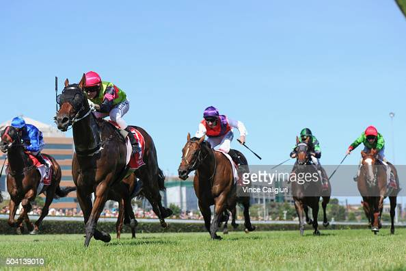 Nicholas Hall riding Duke of Brunswick wins Race 8 during Melbourne racing at Caulfield Racecourse on January 9 2016 in Melbourne Australia