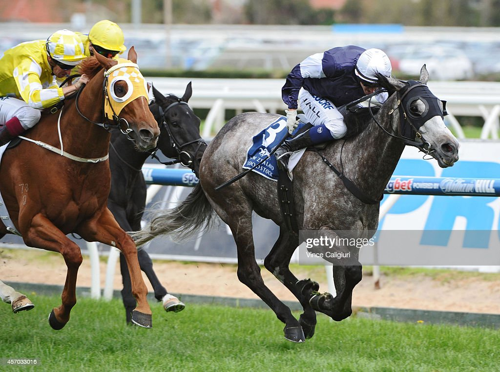 Nicholas Hall riding Fawkner defeats Hugh Bowman riding Criterion in Race 6 the Cathay Pacific Caulfield Stakes during Caulfield Guineas Day at...