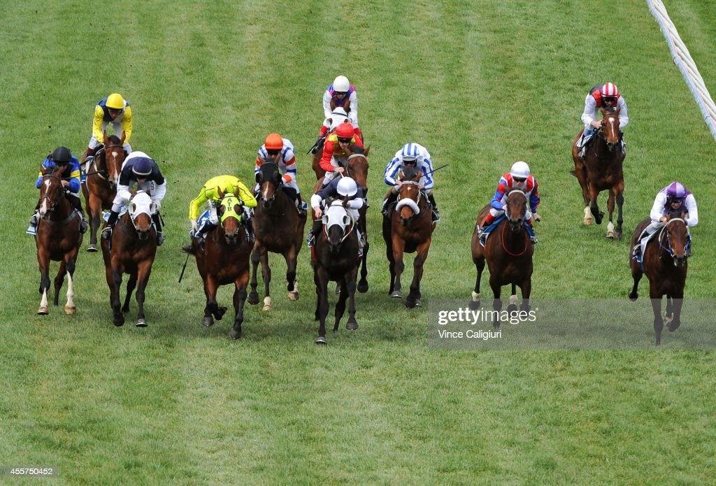 Nicholas Hall riding Firehouse Rock winning Race 2 during the Underwood Stakes Day at Caulfield Racecourse on September 20 2014 in Melbourne Australia
