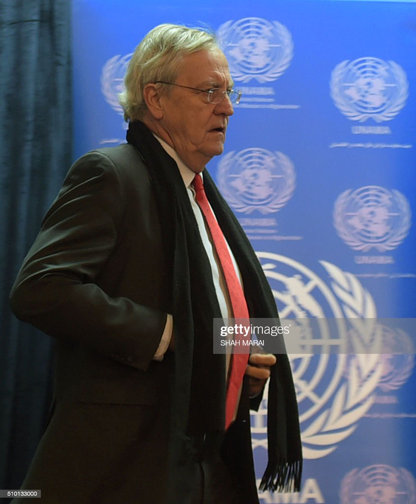 Nicholas Haysom, the UN's special representative for Afghanistan, arrives for a press conference in Kabul on February 14, 2016. The number of civilians killed or wounded in Afghanistan in 2015 was the highest recorded since 2009, the UN said in a new report on February 14, with children paying a particularly heavy toll as struggling Afghan forces faced a militant surge. AFP PHOTO / SHAH Marai / AFP / SHAH MARAI