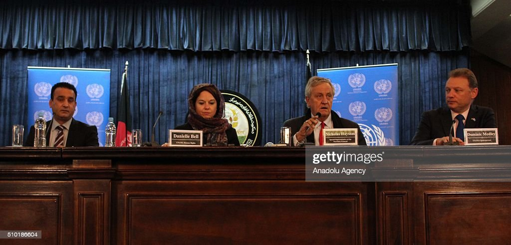 Nicholas Haysom (2nd R), the UN's special representative for Afghanistan, speaks during a press conference in Kabul, Afghanistan on February 14, 2016. United Nations Assistance Mission in Afghanistan (UNAMA) on Sunday launched its Protection of Civilians in Armed Conflict Annual Report 2015 and said that last year they recorded the highest number of civilian casualties in a single year in Afghanistan.