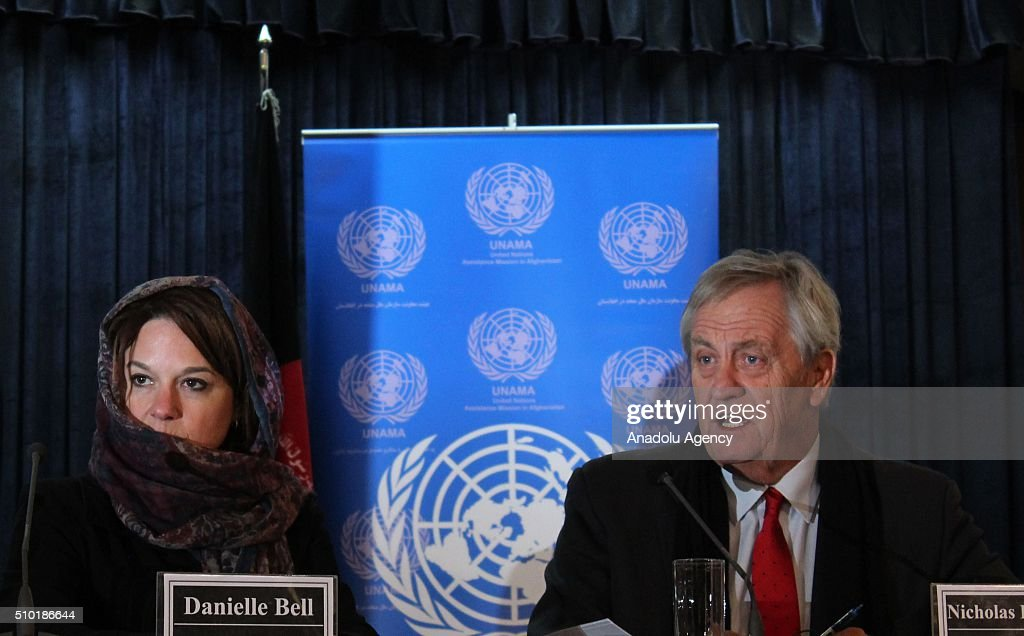 Nicholas Haysom (R), the UN's special representative for Afghanistan, speaks during a press conference in Kabul, Afghanistan on February 14, 2016. United Nations Assistance Mission in Afghanistan (UNAMA) on Sunday launched its Protection of Civilians in Armed Conflict Annual Report 2015 and said that last year they recorded the highest number of civilian casualties in a single year in Afghanistan.