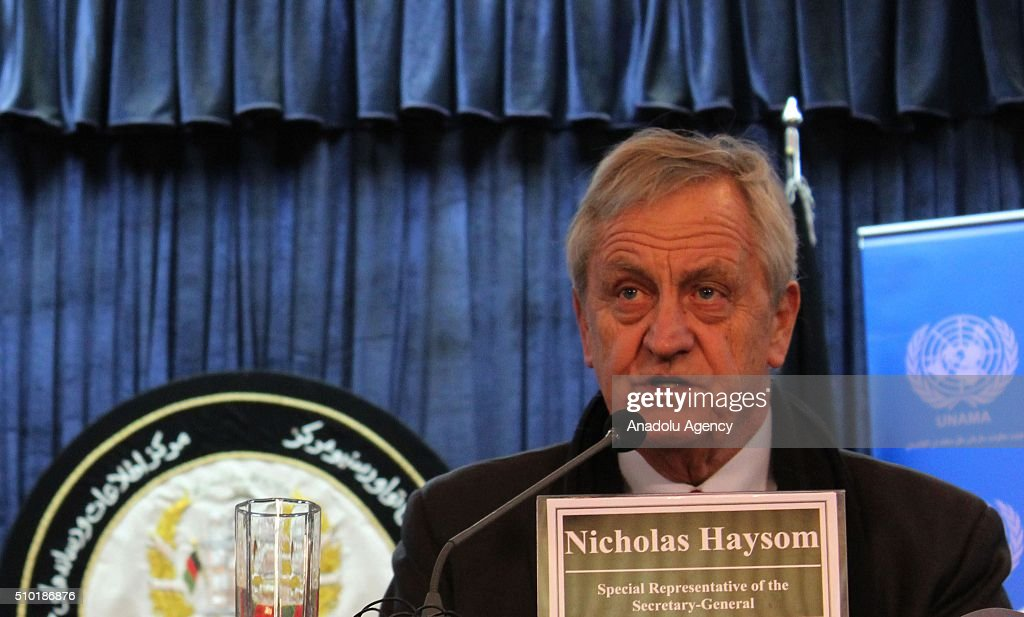 Nicholas Haysom, the UN's special representative for Afghanistan, speaks during a press conference in Kabul, Afghanistan on February 14, 2016. United Nations Assistance Mission in Afghanistan (UNAMA) on Sunday launched its Protection of Civilians in Armed Conflict Annual Report 2015 and said that last year they recorded the highest number of civilian casualties in a single year in Afghanistan.
