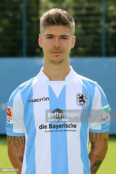 Nicholas Helmbrecht poses during the official team presentation of TSV 1860 Muenchen at Trainingsgelaende on July 22 2016 in Munich Germany
