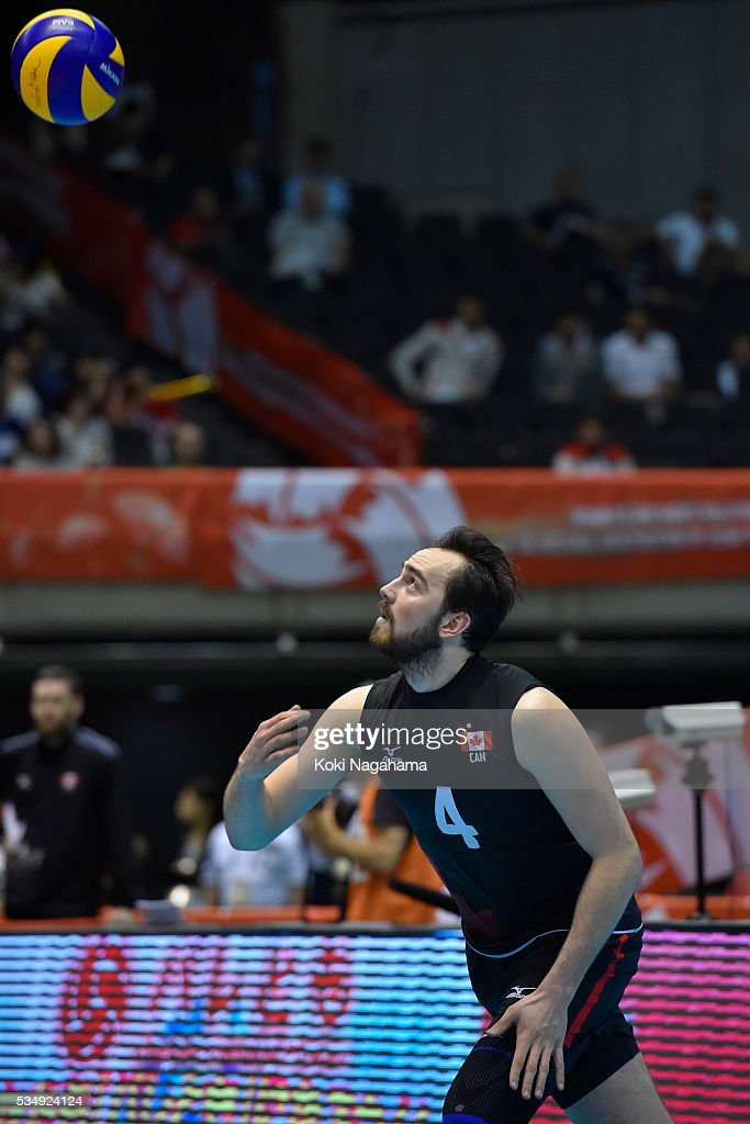 Nicholas Hoag #4 of Canada serves the ball during the Men's World Olympic Qualification game between Poland and Canada at Tokyo Metropolitan Gymnasium on May 28, 2016 in Tokyo, Japan.