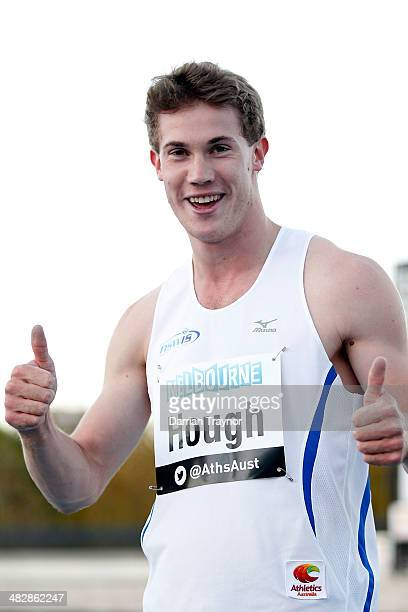 Nicholas Hough celebrates winning the 110m hurdles final during the 92nd Australian Athletics Championships at Olympic Park on April 5 2014 in...