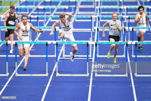 Nicholas Hough of NSW competes in his Open Mens 110m Hurdles event during day eight of the 2017 Australian Athletics Championships at Sydney Olympic...