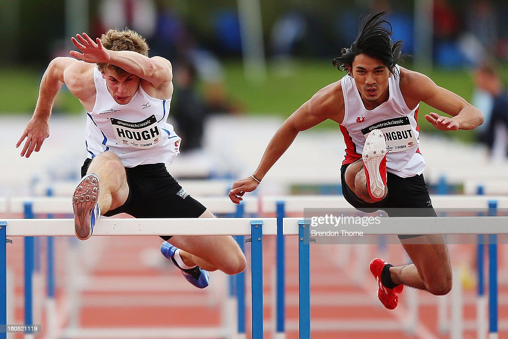 Nicholas Hough of NSWIS competes in the Men's 110 metre Hurdles during the Hunter Track Classic on February 2, 2013 in Newcastle, Australia.