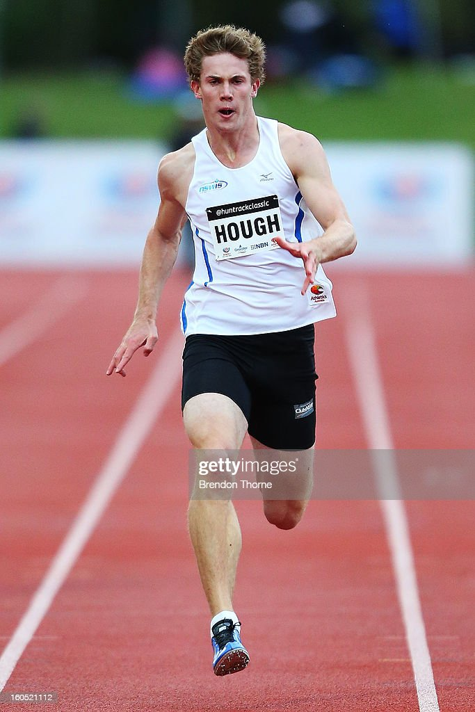 Nicholas Hough of NSWIS competes in the Men's 200 metre during the Hunter Track Classic on February 2, 2013 in Newcastle, Australia.