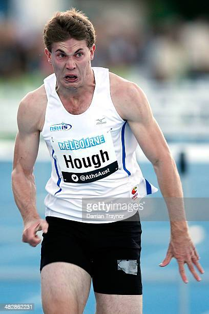 Nicholas Hough wins the 110m hurdles final during the 92nd Australian Athletics Championships at Olympic Park on April 3 2014 in Melbourne Australia