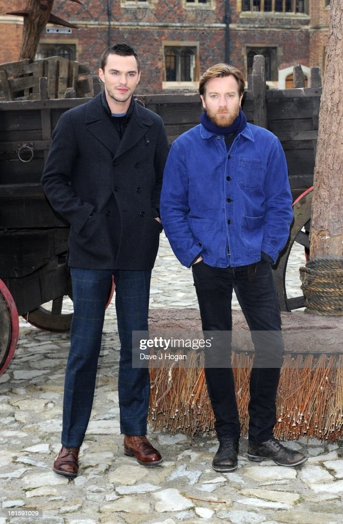 Nicholas Hoult and Ewan McGregor attend a photocall for 'Jack The Giant Slayer' at Hampton Court Palace on February 12, 2013 in London, England.