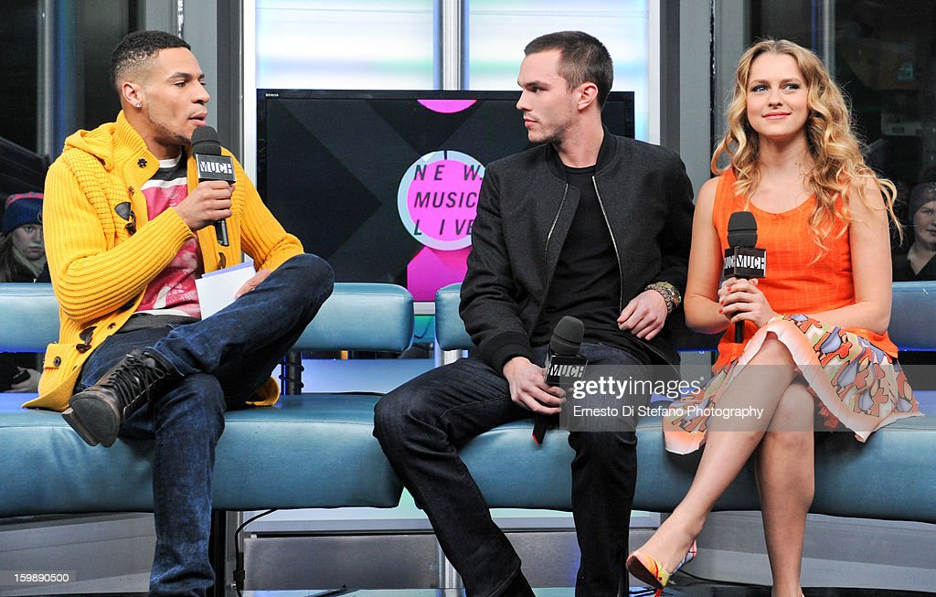 Nicholas Hoult (C) and Teresa Palmer (R) with Host Scott Willats on New.Music.Live at MuchMusic Headquarters on January 21, 2013 in Toronto, Canada.
