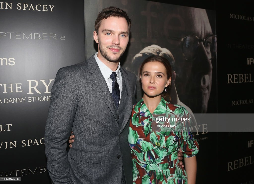 Nicholas Hoult and Zoey Deutch pose at the New York Premiere of 'Rebel in The Rye' at Metrograph on September 6, 2017 in New York City.