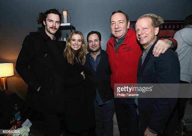 Nicholas Hoult Zoey Deutch Danny Strong Kevin Spacey and Bruce Cohen attend the 2017 Sundance Film Festival premiere of Rebel In The Rye hosted at...