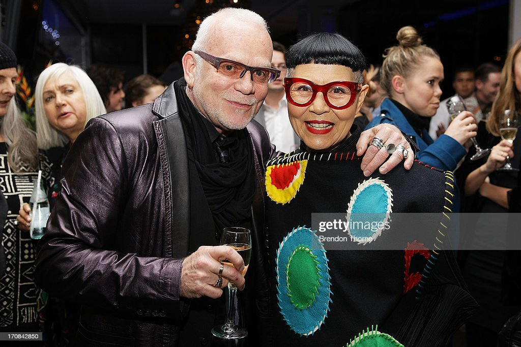 Nicholas Huxley and Jenny Kee arrive at the Australian Fashion Laureate Winner announcement event at the Pullman Grand Quay Hotel on June 19, 2013 in Sydney, Australia.