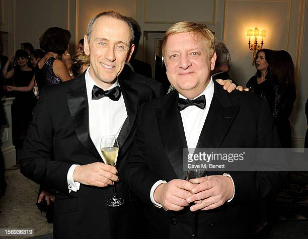 Nicholas Hytner and Simon Russell Beale attend a drinks reception at the 58th London Evening Standard Theatre Awards in association with Burberry at...