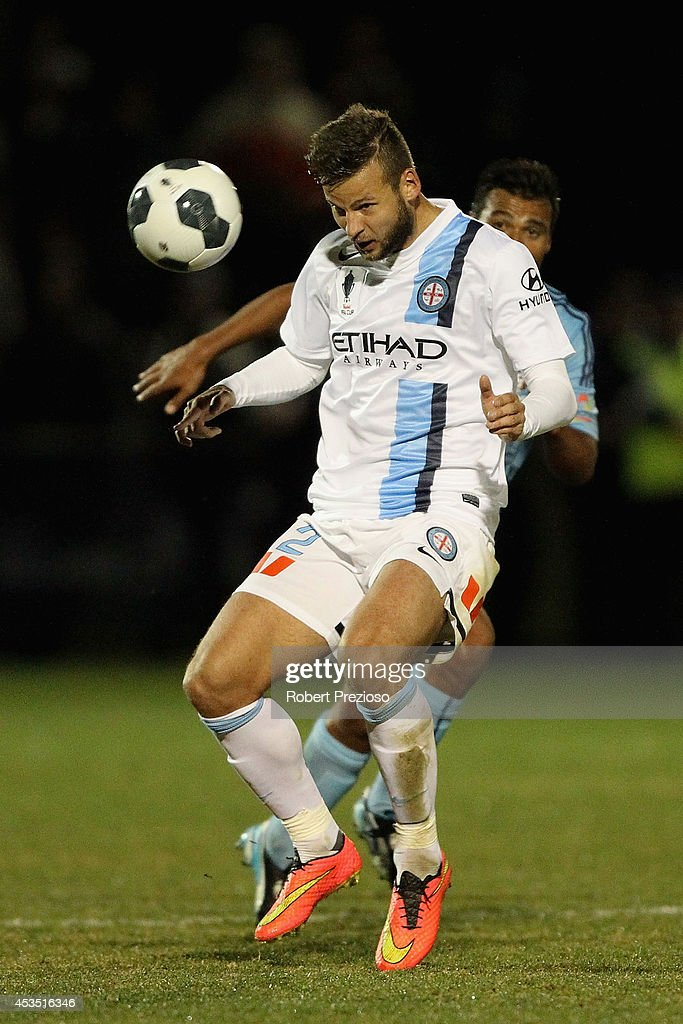 Nicholas Kalmar of Melbourne City heads the ball during the FFA Cup match between Melbourne City and Sydney FC at Morshead Park Stadium on August 12, 2014 in Ballarat, Australia.