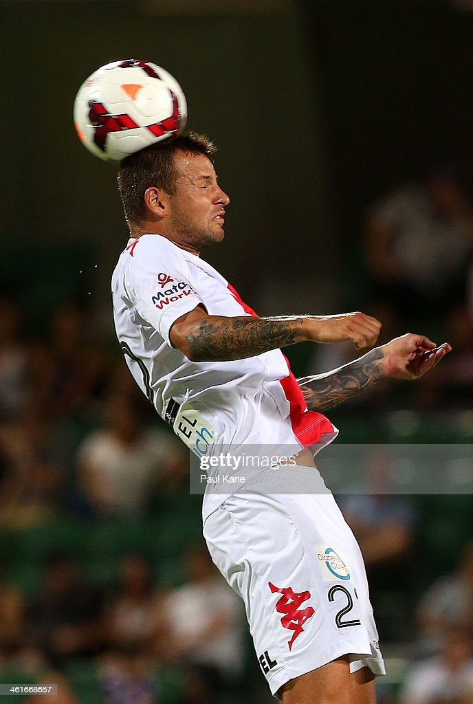 Nicholas Kalmar of the Heart heads the ball during the round 14 A-League match between Perth Glory and the Melbourne Heart at nib Stadium on January 10, 2014 in Perth, Australia.