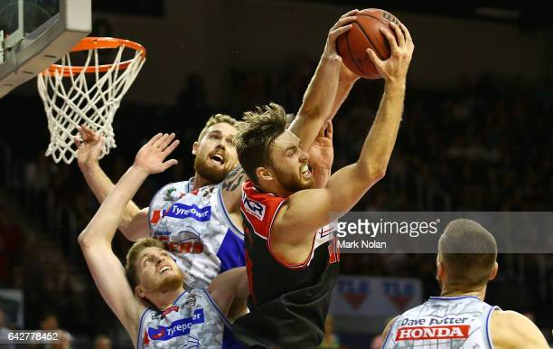 Nicholas Kay of the Hawks rebounds during the second NBL Semi Final match between Illawarra Hawks and the Adelaide 36ers at WIN Entertainment Centre...