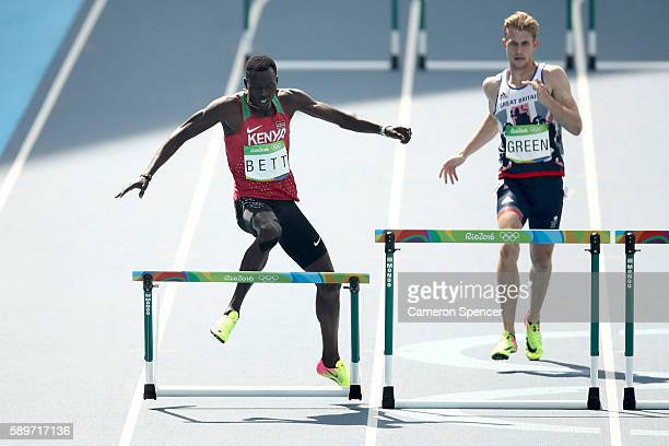 Nicholas Kiplagat Bett of Kenya and Jack Green of Great Britain compete in round one of the Men's 400m Hurdles on Day 10 of the Rio 2016 Olympic...