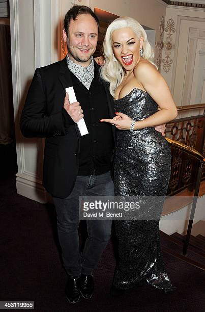 Nicholas Kirkwood Accessory Designer of the Year and Rita Ora pose at the British Fashion Awards 2013 at London Coliseum on December 2 2013 in London...