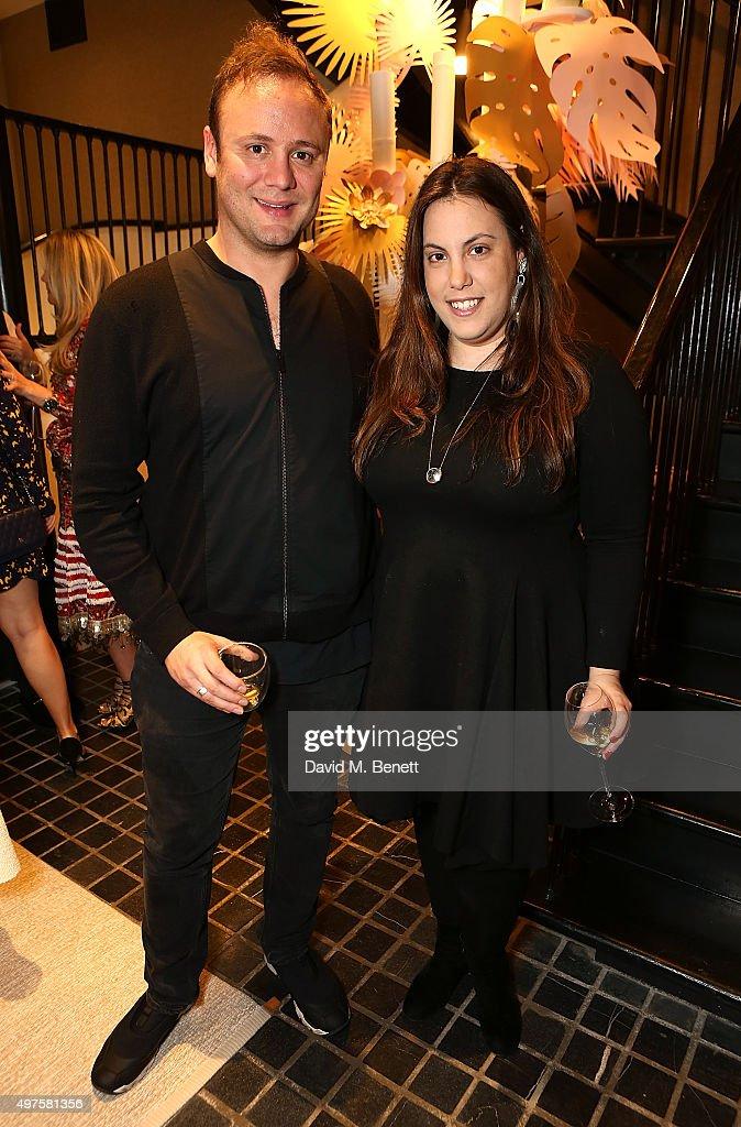 Nicholas Kirkwood and Mary Katrantzou attend the Moda Operandi Holiday dinner hosted by Lauren Santo Domingo on November 17, 2015 in London, England.