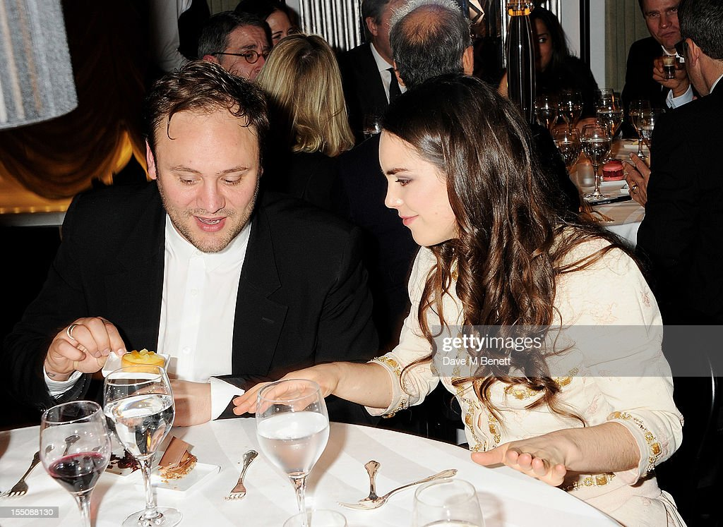 (MANDATORY CREDIT PHOTO BY DAVE M BENETT/GETTY IMAGES REQUIRED) Nicholas Kirkwood (L) and Tallulah Harlech attend the Harper's Bazaar Women of the Year Awards 2012, in association with Estee Lauder, Harrods and Tiffany & Co., at Claridge's Hotel on October 31, 2012 in London, England.