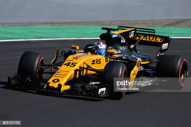 Nicholas Latifi of Canada driving the Renault Sport Formula One Team Renault RS17 during day one of F1 inseason testing at Hungaroring on August 1...
