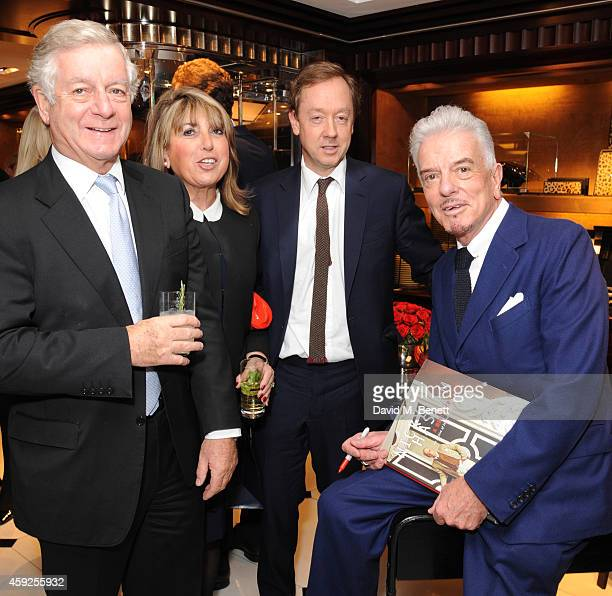 Nicholas Lloyd Eve Pollard Geordie Greig and Nicky Haslam attend the launch of Nicky Haslam's new book 'A Designer's Life' at Ralph Lauren on...
