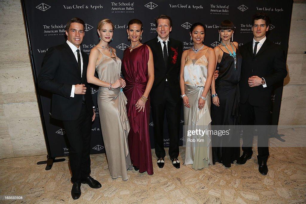 Nicholas Luchsinger of Van Cleef and Arpels (C) and models attend the School of American Ballet 2013 Winter Ball at David H. Koch Theater, Lincoln Center on March 11, 2013 in New York City.