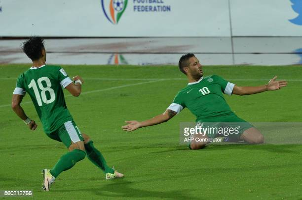 Nicholas Mario Tarrao of Macau celebrate their first goal during the 2019 AFCAsian Cup qualifying match between India and Macau held at the...