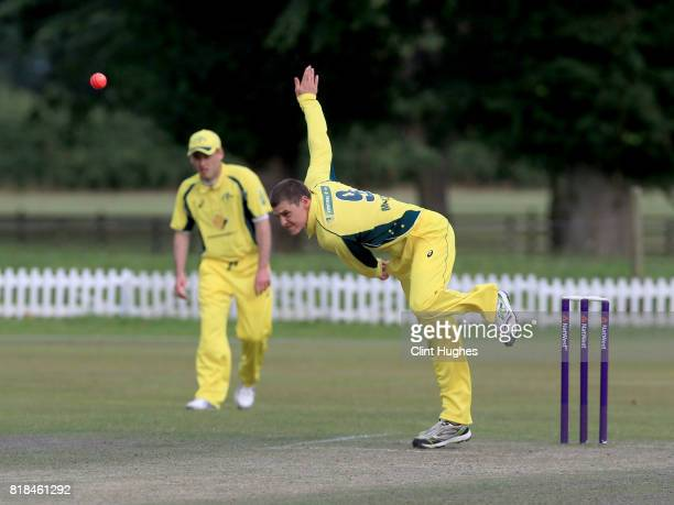 Nicholas McConnell of Australia bowls during the T20 INAS TriSeries against South Africa at Toft Cricket Club on July 18 2017 in Knutsford England