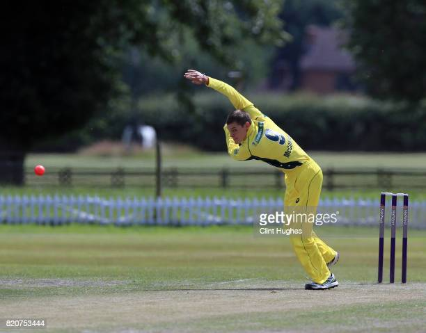 Nicholas McConnell of Australia bowls during the T20 INAS TriSeries against England at Toft Cricket Club on July 18 2017 in Knutsford England