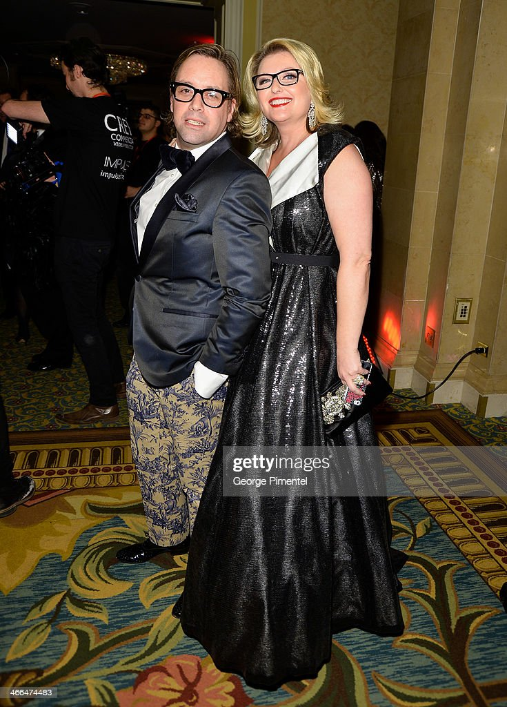 Nicholas Mellamphy and Simona Schneider arrive at the 1st Annual Canadian Arts and Fashion Awards at the Fairmont Royal York Hotel on February 1, 2014 in Toronto, Canada.