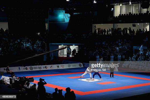 Nicholas Meregali of Brazil competes against Mahamed Santos of Brazil in the Men's purple belt open weight finals during the Abu Dhabi World...